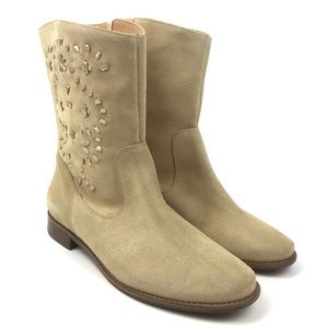 Jack Rogers whip stitch mid calf boot leather tan